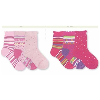 Jefferies Pick-a-Mix Crew Kids Socks for Girls - 3 Pair