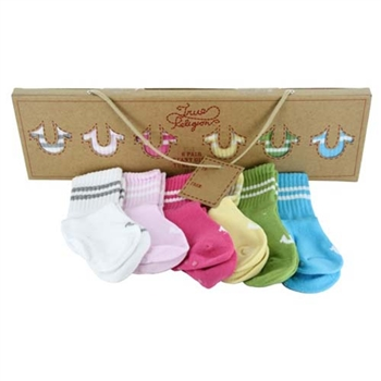 True Religion Infant Girl's Gift Box Set - 1 Box of 6 Pair