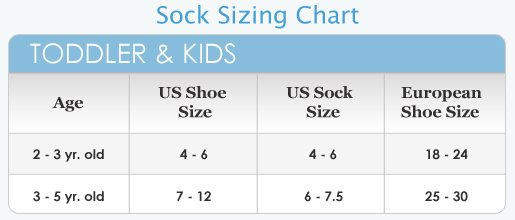 Use the chart below to determine your sock size based on shoe size.